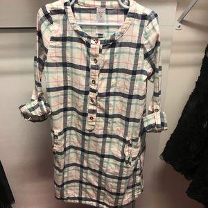 Girls pocketed flannel dress